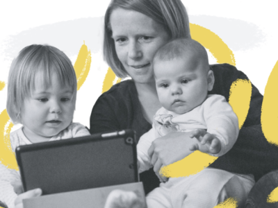 2 children and their mother look at a tablet.